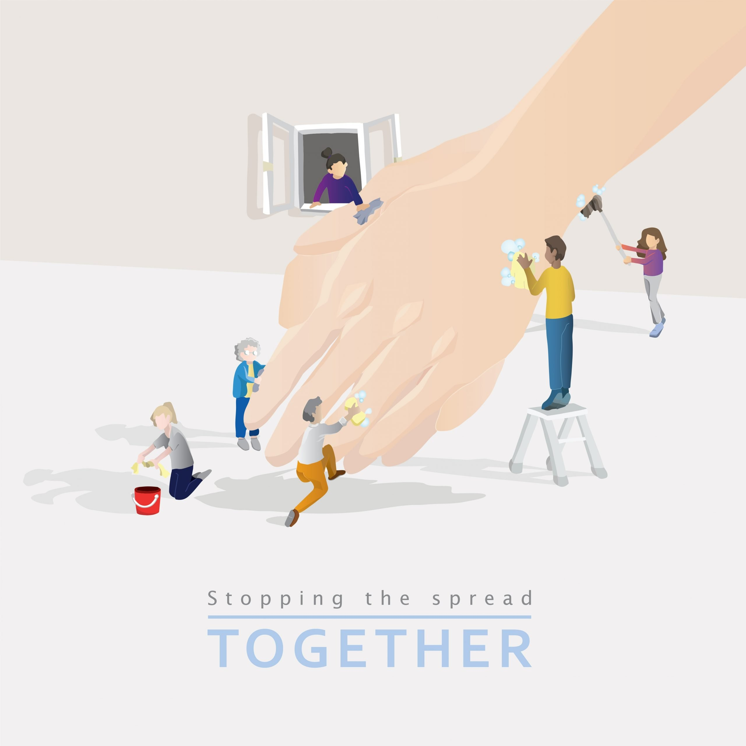 Stopping the spread, together. Image created by Deana Tsang
